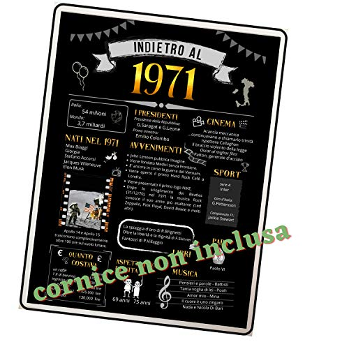 50 Compleanno Idea Regalo Per Festa o Anniversario Anno 1971 Da Mettere in Cornice (esclusa) per Tutti Con Idee Originali Per Decorare Formato 21 x 30 cm Per Ragazzi Adulti o Anziani