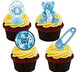 Decoraciones de obleas paradas para tartas, comestibles, para Baby Shower de varón, Pack de 24