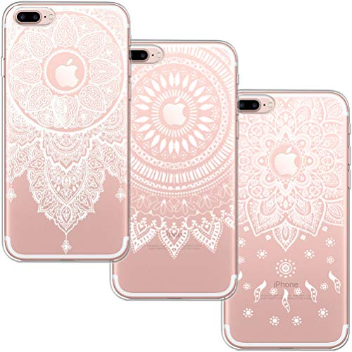 [3 Pack] Funda iPhone 7 Plus, Funda iPhone 8 Plus, Blossom01 Funda Ultrafina Suave Funda de Silicona TPU con Linda Caricatura para Apple iPhone 7 Plus/iPhone 8 Plus - 3 * Mandala