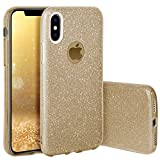 QULT Handyhülle kompatibel mit iPhone XS iPhone X Hülle Glitzer Gold glänzend Tasche iPhone X/XS Hülle Silikon Bumper Hülle Glitter Design Sparkles Golden