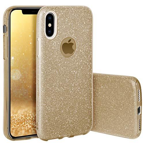 QULT Handyhülle kompatibel mit iPhone XS iPhone X Hülle Glitzer Gold glänzend Tasche iPhone X/XS Case Silikon Bumper Case Glitter Design Sparkles Golden