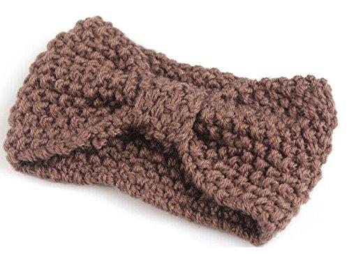 Fascia invernale per capelli, da donna, in maglia, con fiocco