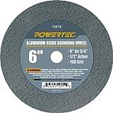 POWERTEC 15519 Aluminum Oxide Grinding Wheel, 6' x 3/4', 1/2' Arbor, 100 Grit