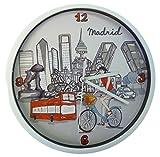 Nadal Reloj Mediano Madrid En Bicicleta, Multicolor, 20 x 20 x 3,45 cm