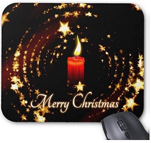 Gaming Mauspad Frohe Weihnachten Kerze Sterne Illustration für Desktop und Laptop