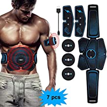eAnjoy EMS Pads, ABS Stimulator Muscle Toner, Abdominal Toning Belt Muscle Trainer, Portable Fitness Trainer for Abdomen, Arm and Leg, with 6 Modes 8 Levels, USB Charging (6-Pack)