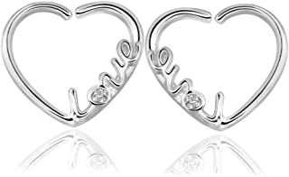 2 Pcs 16 Gauge Love Heart Butterfly Sharped Right Closure Daith Cartilage Tragus Helix Earrings CZ Helix Tragus Daith Nose Piercing Rings for Women Girls Body Piercing Jewelry