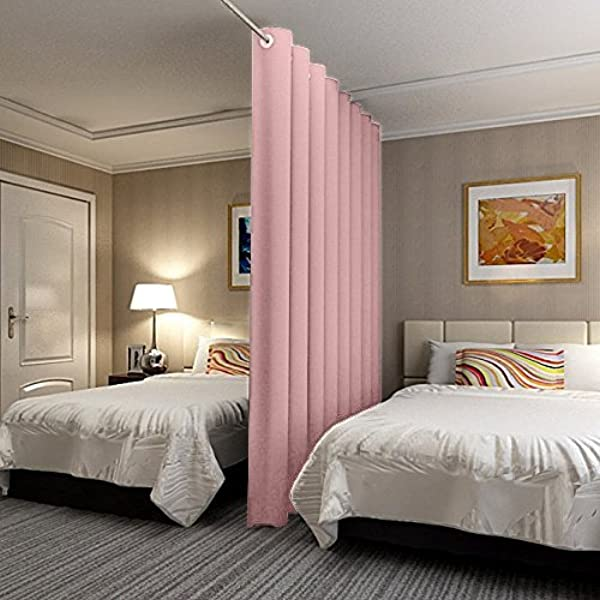 Antique Bronze Grommet Panel Screen Room Divider Curtain In Pink 5ft Wide X 9ft Height For Bedroom Apartment Storage Studio Dorm Loft Workspace