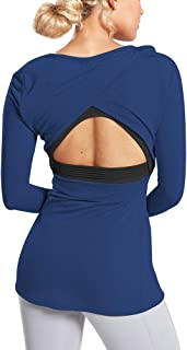 Mippo Long Sleeve Workout Shirts for Women Cute Open Back Athletic Running Yoga Tops