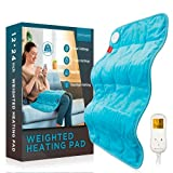 Weighted Heating Pad, Comfytemp 12x 24' Electric Heating Pad for Back Pain Relief with 9 Heat Settings | 5 Auto-Off | Stay on | Backlight, 2.2lb XL Heat Pad for Shoulders and Cramps Relief, Washable