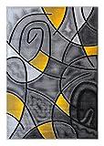 Masada Rugs, Modern Contemporary Area Rug, Yellow Grey Black (5 Feet X 7 Feet)
