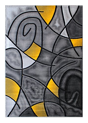 Masada Rugs, Modern Contemporary Area Rug, Yellow Grey Black (5 Feet X 7 Feet)