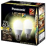 パナソニック LED電球 口金直径26mm プレミアX 電球60形相当 温白色相当(7.4W) 一般電球 全方向タイプ 2個入り 密閉器具対応 LDA7WWDGSZ62TAN