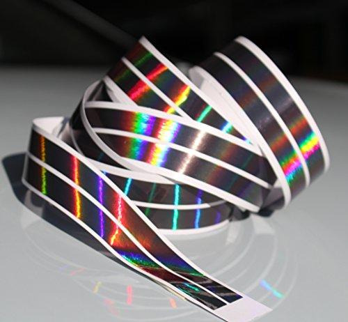 Chrom Hologramm Zierstreifen Folie Klebefolie Aufkleber Dekorstreifen KX007 (Hologramm Schwarz, 4Meter x 10mm)