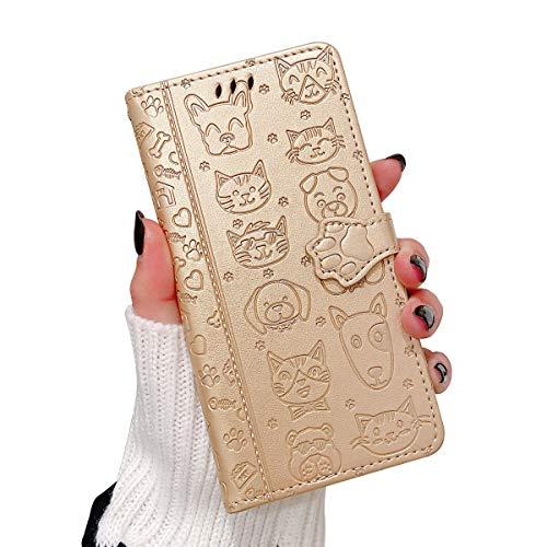 Oihxse Billetera Cuero Funda Compatible con iPhone 12 Pro 6.1'' 2020 PU Libro Tapa Flip Soporte Plegable Protector Magnético Carcasa Gato Perro Lindo Animal Diseño Wallet Case-Dorado