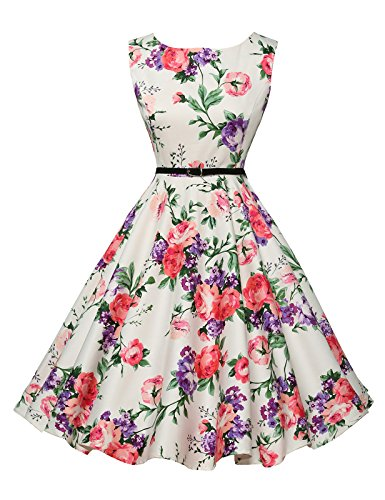 GRACE KARIN Blanco Rosado Florals Fresco Pinup 60s 50s Vestido Chica para XXL 21#