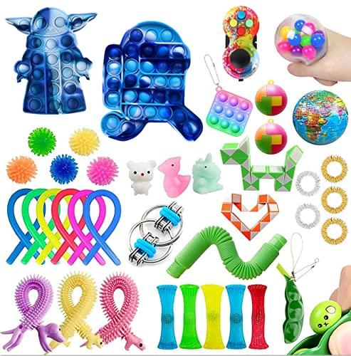 NINGJING TIK Tok Fidget Toy Packs Fidget Toys Set -Figit Toys Box with Push pop pop, Cheap Senory Fidgets Toys with Marble mesh Anxiety Tube Fidget Block Set for Adults Kids (5)