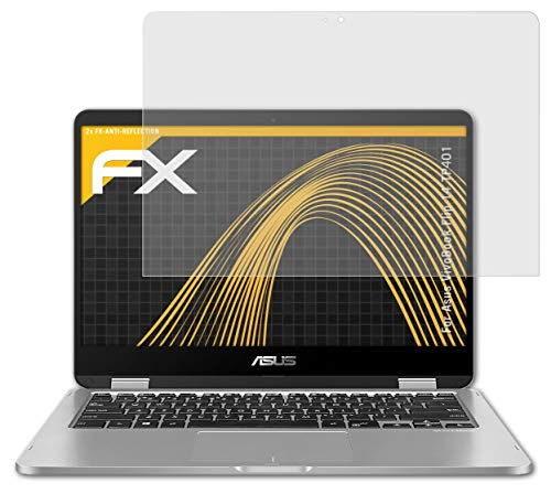 atFolix Panzerfolie kompatibel mit Asus VivoBook Flip 14 TP401 Schutzfolie, entspiegelnde & stoßdämpfende FX Folie (2X)
