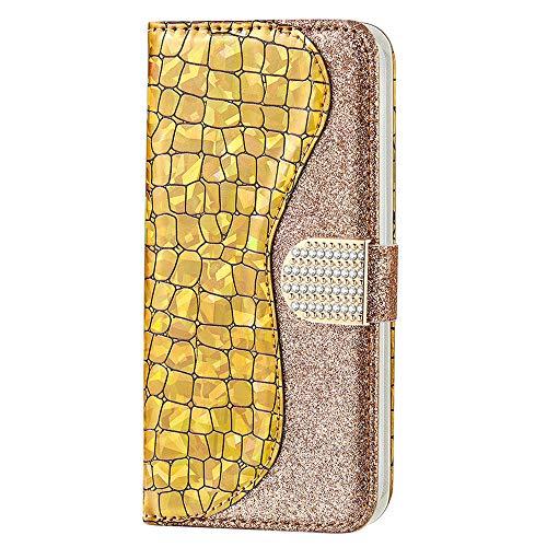 XYX Capa carteira para Samsung Galaxy S8 Plus G955, capa carteira flip de couro PU com costura com glitter para mulheres e meninas, ouro