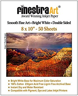 """8"""" X 10"""" Smooth Fine Art Bright White Double Sided - 50 Sheets photo"""