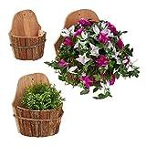 Relaxdays Juego de 3 maceteros de Pared de Madera Natural, para Exteriores, decoración de Plantas,...