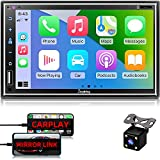 Car Stereo Compatible with Apple Carplay, Double Din 7' Full Touch HD Capacitive Screen - Mirror Link, Bluetooth, Backup Camera, Steering Wheel Controls, Subwoofer, USB/SD Port, AM/FM Car Radio