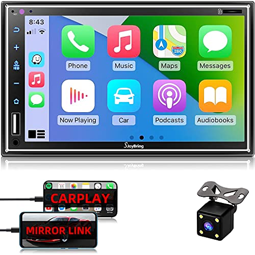 Car Stereo Compatible with Apple Carplay, Double Din 7 Full Touch HD Capacitive Screen - Mirror Link, Bluetooth, Backup Camera, Steering Wheel Controls, Subwoofer, USB SD Port, AM FM Car Radio