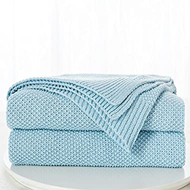"""100% Cotton Blue Cable Knit Throw Blanket with Bonus Laundering Bag – Large 50 x 60"""" Thick, Extra Cozy, Machine Washable, Comfortable Home Decor"""