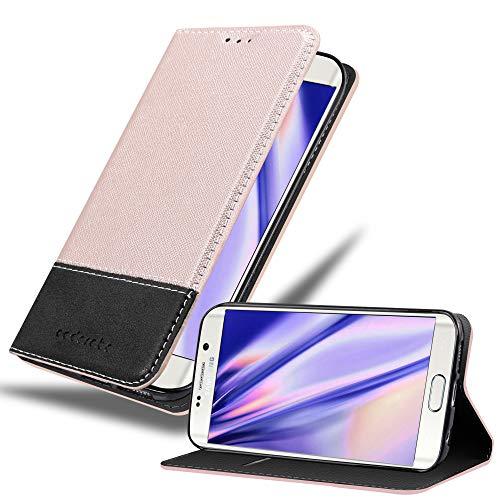 Cadorabo Funda Libro para Samsung Galaxy S6 Edge en Rosa Oro Negro – Cubierta Proteccíon con Cierre Magnético, Tarjetero y Función de Suporte – Etui Case Cover Carcasa
