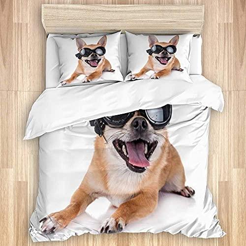 Nat999Lily Juego de Funda nórdica Lavada, Joven Cachorro de Pura Raza Motociclista Humor Chihuahua Animales Vida Silvestre Gafas de Sol, Juego de Cama Suave de Lujo de 3 Piezas (sin edredón)