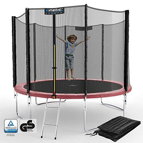 Kinetic Sports Outdoor Gartentrampolin Ø 305, TPLS10, inklusive Sprungtuch aus USA PP-Mesh +Sicherheitsnetz +Rand- u. Regen-Abdeckung +Leiter, bis 160kg, GS-geprüft,UV-beständig, PINK