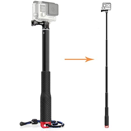 Tekcam perche à selfie télescopique en aluminium pour caméras étanches GoPro Hero 6/5, Victure, Crosstour, AKASO Campark, APEMAN 4k