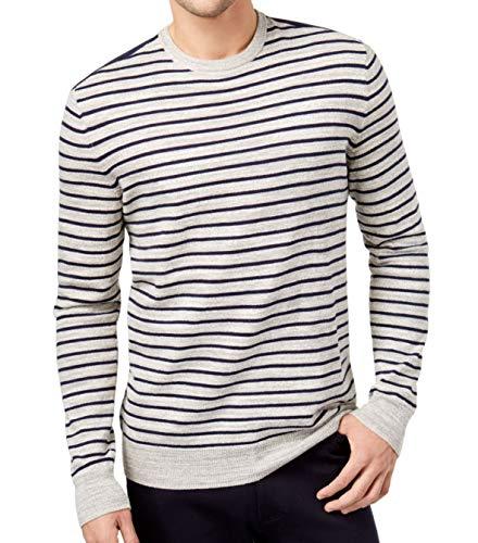 Club Room Mens Knit Striped Crewneck Sweater Gray L
