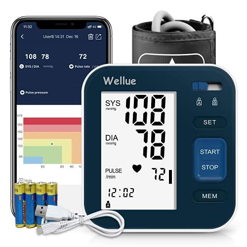 Tensiómetro de Brazo Bluetooth con Aplicación Inteligente, Máquina de presión sanguínea en casa, Monitor de Presión Arterial Digital Automatico con Manguito Grande de 9-16 pulgadas, 2 * 120 de Memoria