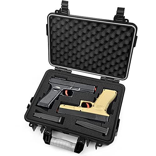 Lekufee Waterproof Hard Pistol Case for 2 Handguns and More...