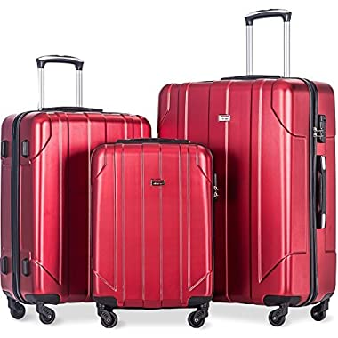 Merax 3 Piece P.E.T Luggage Set Eco-friendly Light Weight Spinner Suitcase(Red)