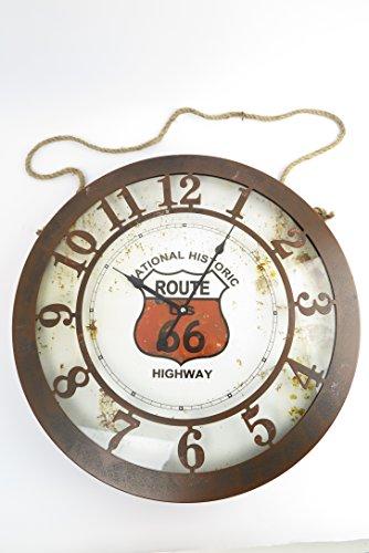 Reloj de pared tamaño XXL de la ruta 66 vidrio chapa Blechuhr XL 50 cm diámetro Missouri Texas Kansas Illinois mivall