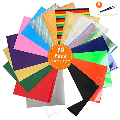 Heat Transfer Vinyl Wärmeübertragung Vinyl Textilfolien Transfer-Papier Textilfolien Transferpapier Transferfolie für DIY T-Shirt, Buchstaben, Aufkleber, Schilder (18 PACK)