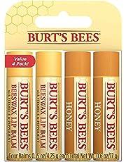 Burt's Bees Balsamo labbra idratante naturale, confezione da 4 tubetti, cera d'api classico con vitamina E, olio di menta piperita e miele con cera d'api - 60 g