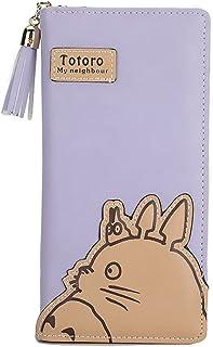 Totoro محافظ النساء محافظ الكرتون حامل بطاقة الكرتون عملة محفظة سستة و مغلجان مخلب طويل محفظة (Color : Purple, Size : 19 *...