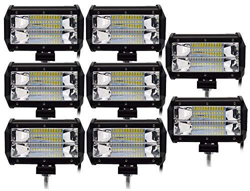 Ishima 8pcs 72W Focos LED Tractor Faros Trabajo LED 12V-24V Barra LED IP67 Impermeable Luz de Niebla para Off-road Camión Moto Barco Coche SUV UTV ATV