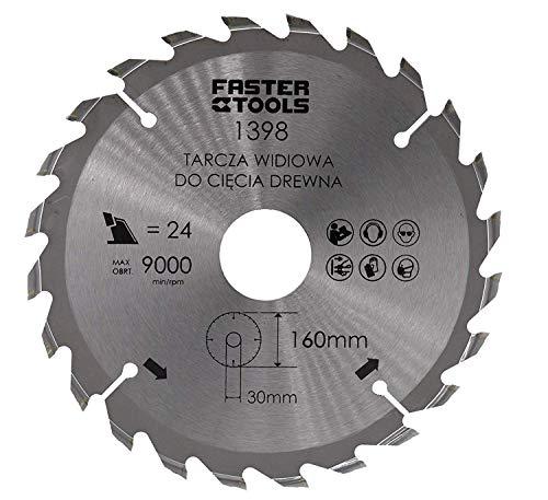 Cirkelzaagblad voor hout 160 x 30 mm met 24 tanden nagelvast voor het snijden van bouwhout, verlijmd brandhout met cirkelzaag wipzaag kapzaag en tafelcirkelzaag handcirkelzaag