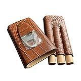 KANJJ-YU Cigar Case Travel PU Leather Humidor, Vintage Cigar Pouch Bag, Portable Light Weight Cigar Box Gift Set Bar