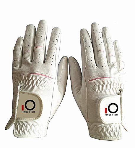 FINGER TEN Golfhandschuh Damen Paar Linke und Rechte Beide Hand Mikrofaser Allwetter Regentag Nass Heiß Golf Handschuh Links Rechts Griff Haltbarkeit Weicher Komfort Größe XS S M L XL(XL)