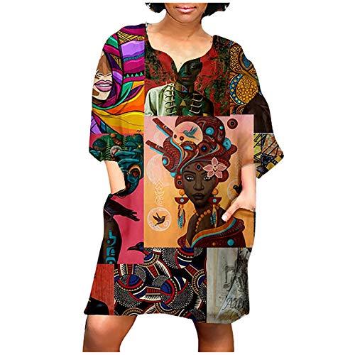 Xisimei Vestido de verano para mujer, camiseta de manga 3/4, retro, mini cuello redondo, abstracto, vestido de playa, minivestido, vestido de tiempo libre, camiseta, blusa, A004-purple, XXXXXL