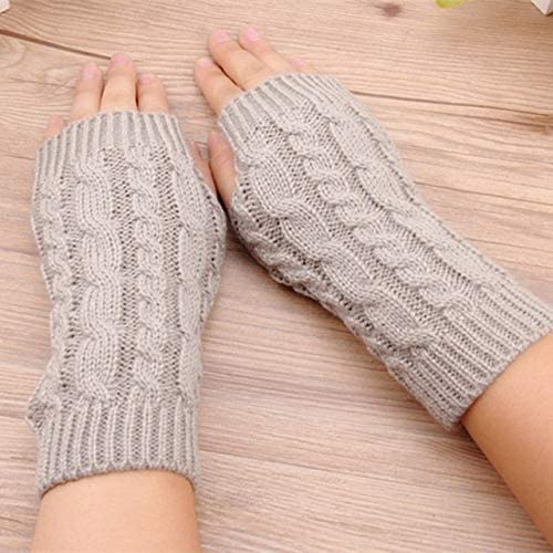 Winter Wrist Female Gloves Knitted Lady Fingerless Mittens Women Warmer Gloves 5 Colors - (Color: D)