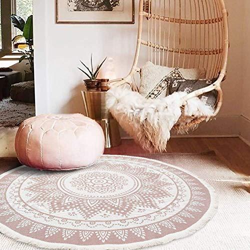 SHACOS Retro Runder Baumwollteppich mit Quasten böhmische Handwebteppich Abwaschbar für Wohnzimmer Schlafzimmerteppich Rund 120cmMandala