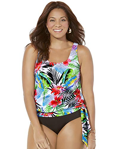 SWIMSUITSFORALL Swimsuits for All Women's Plus Size Tropical Blouson Tankini Top 14 Pink