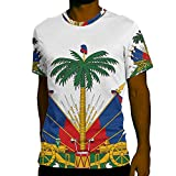 Haitian Haiti Flag Shirt (Medium, White)