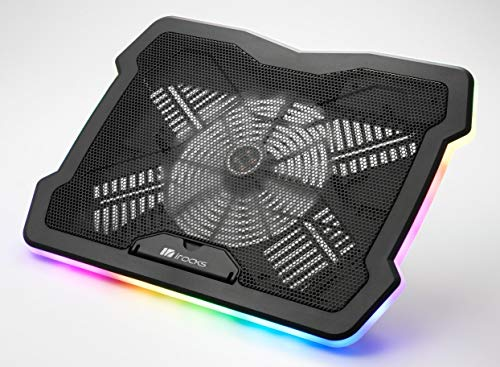 RGB Laptop Cooling Pad Adjustable Angle 15-17 Inch Gaming Laptop Stand with USB Cooler Fan irocks C46E
